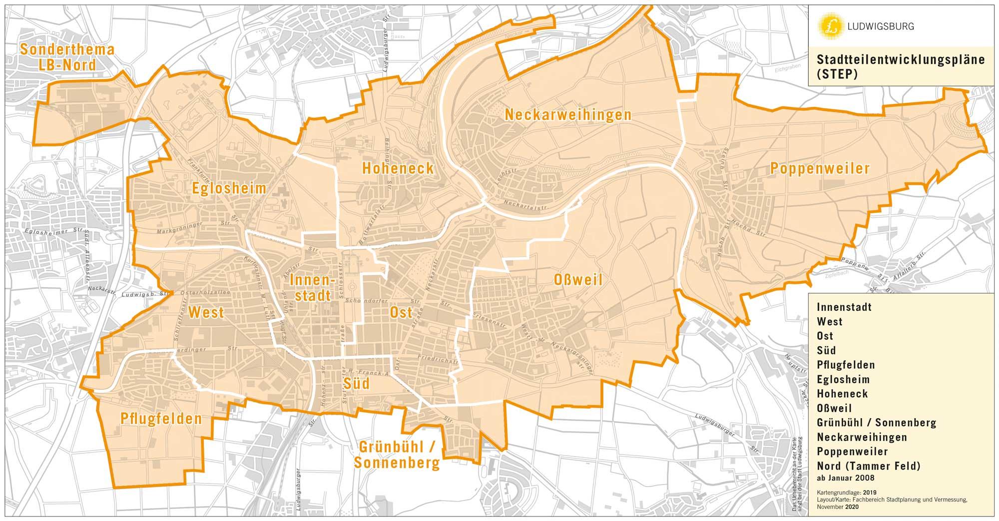 Karte mit hervorgehobenen Abgrenzungen der Stadtteile, für die Stadtteilentwicklungspläne gelten