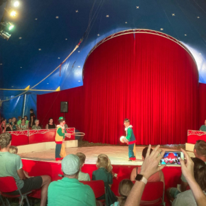 Das Foto zeigt die Manege des Mitmachzirkus in Poppenweiler. In der Manege stehen zwei Clowns. Im Publikum sitzen Kinder mit ihren Eltern.