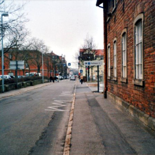 Das Foto zeigt die damalige Mathildenstraße.