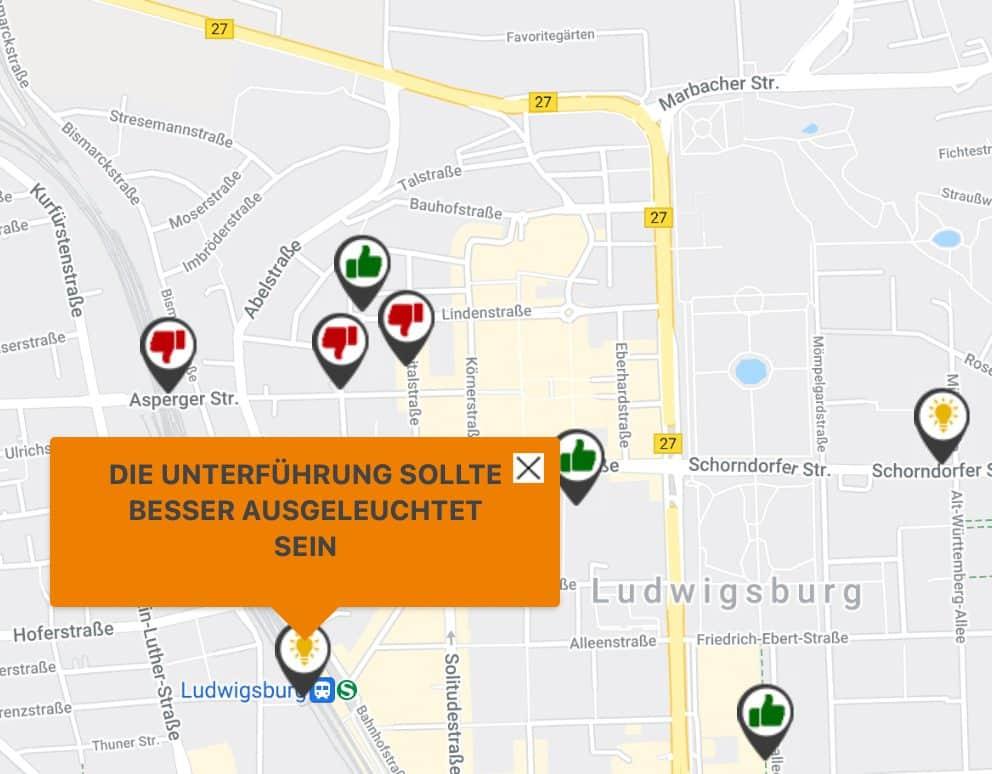 Screenshot von einem Kommentar auf der Mobilitätskarte Ludwigsburg